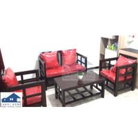 Set kursi tamu kayu sofa tamu formasi 211 lengkap meja dan bantalan