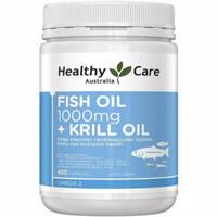 healthy care fish oil 1000 mg + krill oil 400 caps minyak ikan omega 3