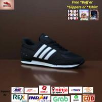 Sepatu Adidas Neo City Racer Black List White Original