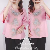 Exckr- Blouse ELLA Baju Atasan wanita - Merah Muda