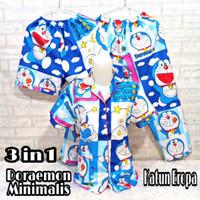Set Piyama 3 in 1 dewasa wanita / baju tidur motif doraemon