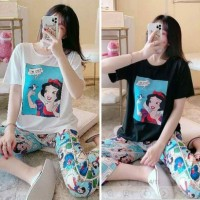 baju tidur piyama motif snow white celana 7/8