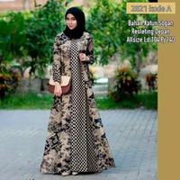 Baju dress gamis cardi wanita batik katun motif coklatan 2821