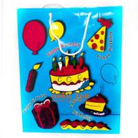 paper bag HBD Biru / souvenir ultah / tas bingkisan / tas ultah murah - Biru