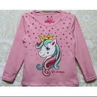 kaos anak perempuan karakter unicorn usia 7-10thn baju lengan panjang