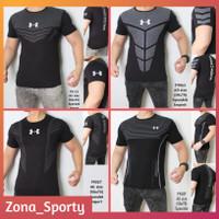 Baju Olahraga Pria Underarmour Hitam Kaos Sport Gym Fitness Jogging