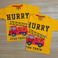 Baju Kaos Atasan Anak Laki Laki Cowok Mobil Pemadam Damkar Fire Truck