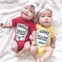 ORI Twins Heinz Ketchup Mustard Baby Jumper Baju Bayi Kembar Jumpsuit