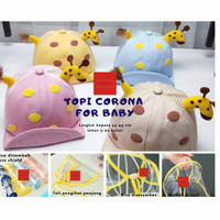 topi corona anak dan bayi topi baseball jerapah dengan faceshield