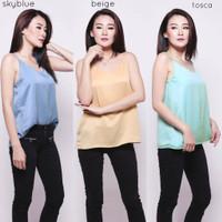 Shimmer Camisole Tank Top Atasan Tanktop Wanita Premium Silk CBL275 - Skyblue