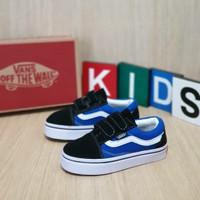 Sepatu Vans Old School Warna Hitam Biru Anak/Kids