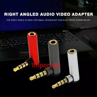 Audio Jack Adapter 3.5mm Male to 3.5mm Female L 90 Derajat TRRS Aux