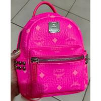 MCM bebe boo neon pink stark backpack visetos