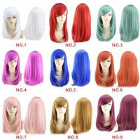 Wig Rambut Wanita medium warna warni untuk Cosplay