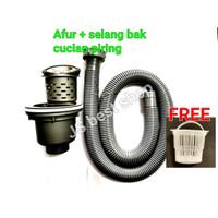 PAKET afur + selang pembuangan cucian piring saringan bak cuci piring