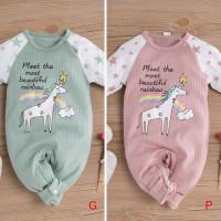 Unicorm Twins Baby Jumper Baju Bayi Anak Kembar Sleepsuit