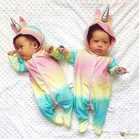 Rainbow Unicorn Twins Baby Baju Bayi Anak Kembar Sleepsuit Costume
