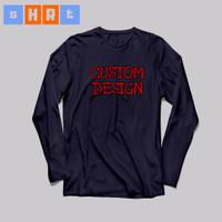 Tshirt kaos baju tees costum polyflex hitam 1 Bagian lengan panjang