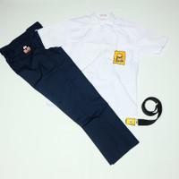 Setelan SMP Seragam Sekolah Biru Cowok Baju Pendek Celana Panjang