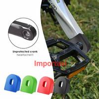 2Pcs Silicone Crankset Wheel Protector Sleeve Pedal Sepeda Crank Cover - Merah
