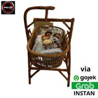 Tampat Tidur Bayi - Keranjang Ayunan Bayi Rotan Asli + Free Kasur