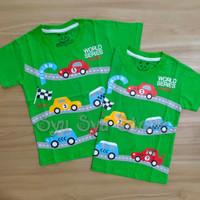 Baju Kaos Atasan Anak Laki Laki Cowok Mobil Balap Racer Racing Hijau