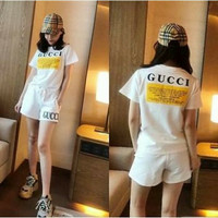 a5 setelan baju Gucci celana pendek import cewek wanita import cantik