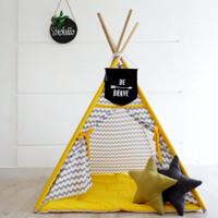 Teepee tent - Chevron grey mix yellow ( tenda/ tenda anak/ mainan anak
