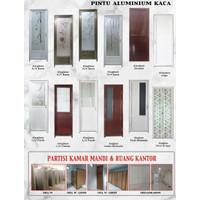 Pintu kamar mandi aluminium kaca motif variatif ukuran 70x200