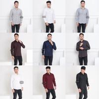 Baju Kemeja Lengan Panjang Pria Polos Big Size XXL Jumbo Aneka Warna - Hitam, L