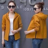 jaket hoodie polos wanita jacket casual santai outer luaran baju hoody