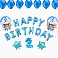 Paket set ulang tahun anak dekorasi doraemon happy birthday biru