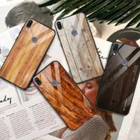WoodGrain Glass Case Asus Zenfone Max Pro M1 ZB601KL ZB602KL Casing HP - A