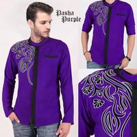 Koko pria lengan panjang trendy Baju koko pria slimfit pasha purple AK