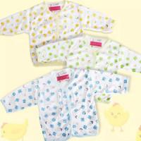 6 pcs Baju Bayi Kancing Depan Panjang Luga