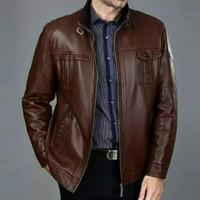 Jaket pria kulit asli domba super /Jaket kulit asli warna coklat tua