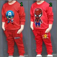 setelan baju anak laki laki nyala kapten amerika spiderman 3 4 5 tahun