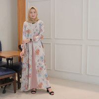Fashion Baju Gamis Dress Tunik Muslim Wanita Terbaru Salinan Flower