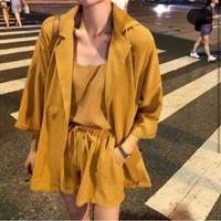 setelan wanita / set blouse celana pendek blazer 3in1 korean style