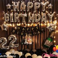 Set paket dekorasi ulang tahun hbd balon fancy romantis black LED