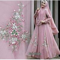 Gamis / Baju / Setelan Wanita Muslim Narcissus Syari ( asli bordir )