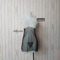 SKA95 Sexy Lingerie Hitam Dress - Baju Tidur Tipis Transparan Wanita
