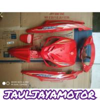 Cover Full Body Halus Yamaha Mio Sporty Warna Merah + Striping