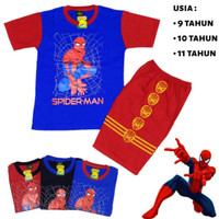setelan baju kaos anak remaja laki-laki/remaja tanggung Spiderman