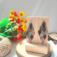 Bohemian leaves earring anting daun panjang