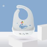 Waterproof Washable Silicone Baby Bib - Whale Balloon