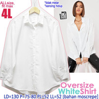 Oversize White Shirt 4L Kemeja Wanita Putih Polos Lengan Panjang BIGSZ