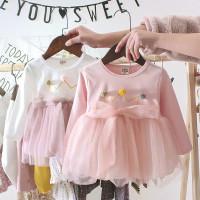 Dress bayi Mahkota Import Pink, Dress anak lengan panjang Pink Import