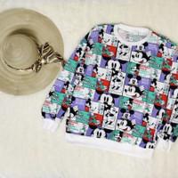 SS03 Sweater oversize mickey donald kotak, katun premium
