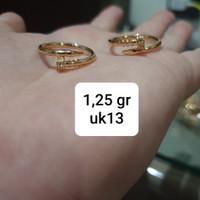 Cincin cartier paku mata putih ring 13 14 kado hadiah wanita emas asli